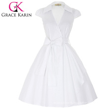 Grace Karin Cap Sleeve Lapel Collar V-Neck High-Stretchy White Retro Vintage Summer Dress CL008953-2