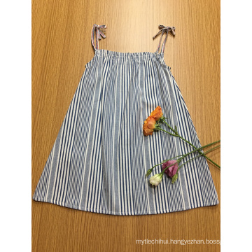casual striped A shape strapy girls dress