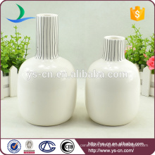 Wholesale white round embossed ceramic vase