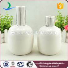 Оптовая белый круглый тиснением керамическая ваза