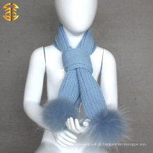 Moda por atacado lindo design liso malha lã criança cachecol inverno