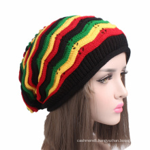 Womens Mens Unisex Knitted Colorful Fancy Rainbow Slouchy Stripes Hat Beanie (HW130)