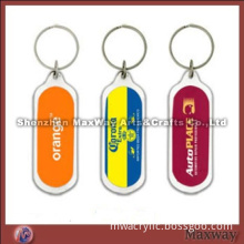 Long oblong-shaped clear polished promotional acrylic key chain/ring/holder with your picture or ad