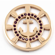 Rose Gold Boat Anchor Coin Plate with Black Crystal