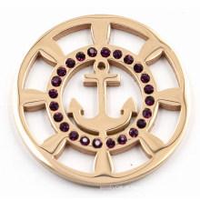 Placa da moeda da âncora do barco do ouro de Rosa com cristal preto