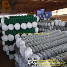 Clôture de lien de chaîne enduite par PVC galvanisée par clôture en métal de diamant