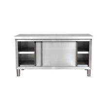 Table de travail en acier inoxydable pour cuisine commerciale à portes coulissantes