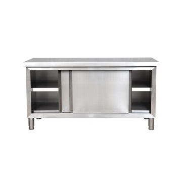 High Quality 304 Commercial Kitchen Stainless Steel Work Table with Sliding Doors