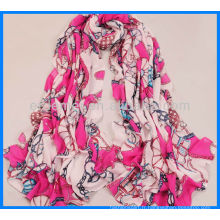 Écharpe classique en satin imprimé à la mode