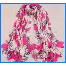 Fashion printed satin classic scarf women