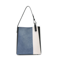 Simple fashion stitching large-capacity shoulder bag