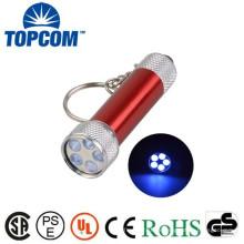 380 ~ 385nm Aluminium 5 LED Mini UV Light Keychain / porte-clés UV / Mini Lampe UV