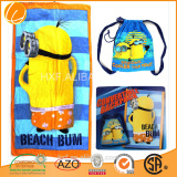 custom promotional cheap 2015 wholesaler cotton printed beach towel bag beach towel backpack beach towel back pack with string