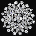 Clear Crystal Rhinestone Beautiful Flower Brooch High quality Hot Sale Pin Brooches for women