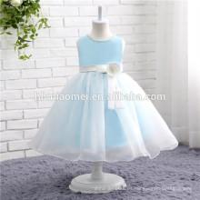 Vestido de fiesta de las muchachas vestido de fiesta de la muchacha color azul personalizar vestidos de niña de las flores de tamaño