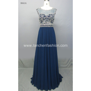 Charming Illusion Neckline Chiffon Evening Prom Dress