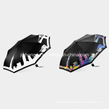 White Pattern Printed Color-Changeable Fabric Fold Umbrella (YSC0005)