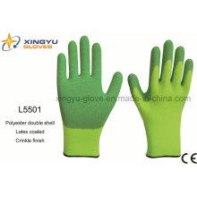 Polyester Doppelmantel Latex beschichtet Crinkle Finish Sicherheit Arbeitshandschuh (L5501)