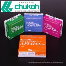 Flúor ptfe cinta adhesiva con superficie antiadherente por Chukoh Chemical Industries. Hecho en Japón (cinta del sello del hilo de Ptfe)