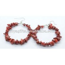 Круглая форма Красная коралловая серьга из каменного кристалла