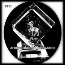K9 Laser 3D mouton à l'intérieur du Cube de cristal