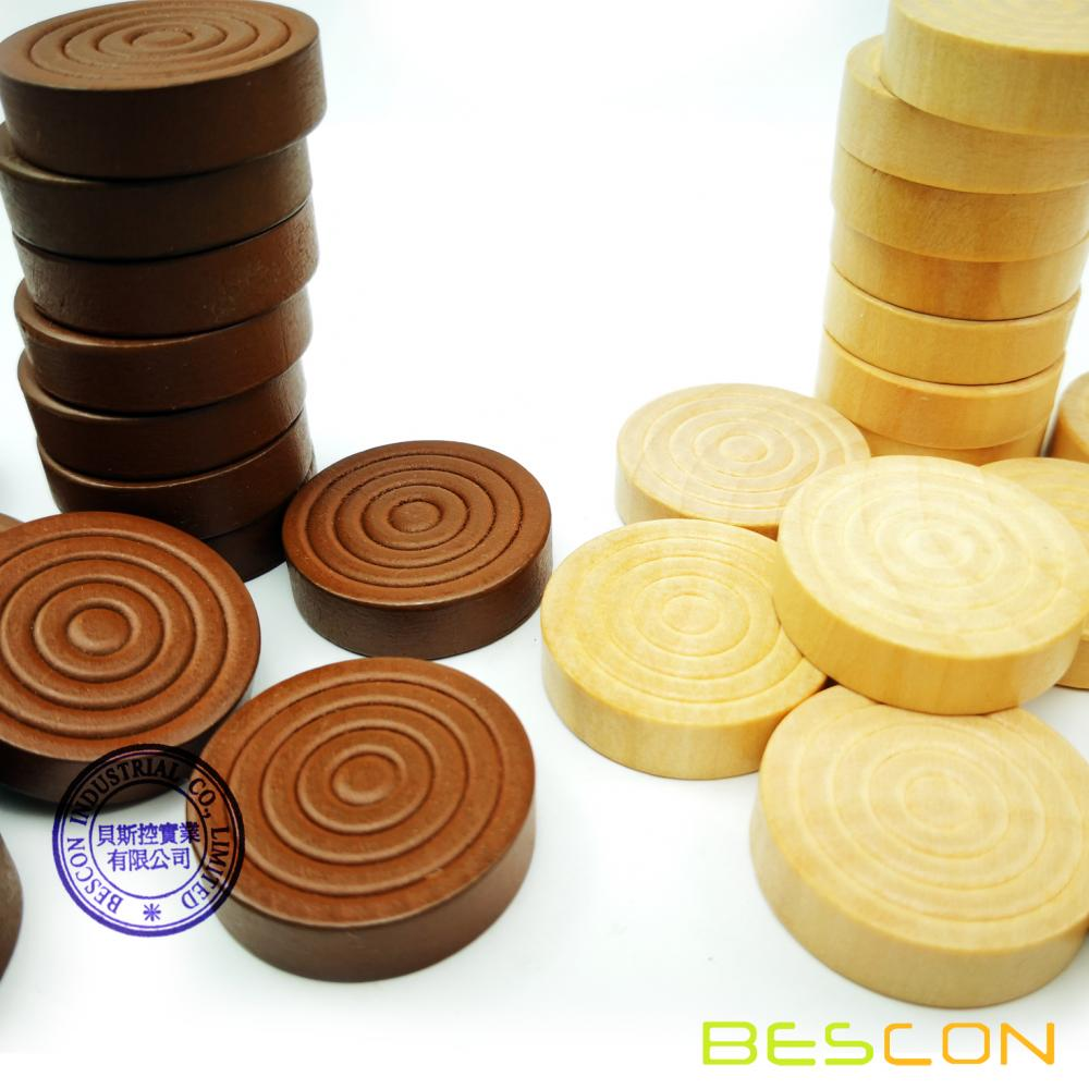 Bescon 1-3/16 inch Classic Carved Stackable Wooden Checkers in Natural Wood and Brown Color (30 pieces) - With Drawstring Cloth