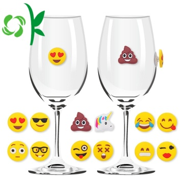 Personlig Silikon Custom Emoji Sucker Wine Glass Marker