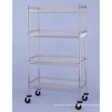 Chrome Mobile Metal Commercial /Industrial Basket Trolley Rack (BK9045180A4CW)