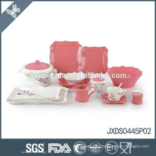 2014! New 45pcs fine porcelain square dinner set, new square shape, colored dinner set