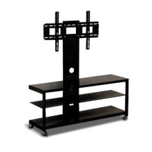 Entertainment Unit with Black Tempered Glass, Powder-coated Iron Tube and Metal Bracket
