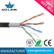 Casaco duplo PE + PVC impermeável para cablagem ao ar livre UTP cat5e 24awg cabo ao ar livre