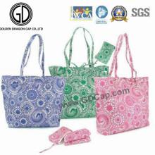 La bolsa de asas plegable colorida promocional del poliéster de las compras 2016