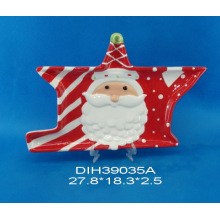 Hand-Painted Ceramic Irregular Plate with Santa Design