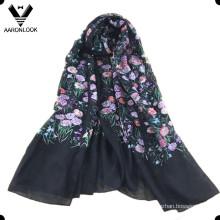 Красочные женщин чистый шелк трава цветок печать шарф