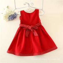 Vestido de meninas de lã vermelha para bebê infantil inverno vestidos vestido sem mangas para o inverno