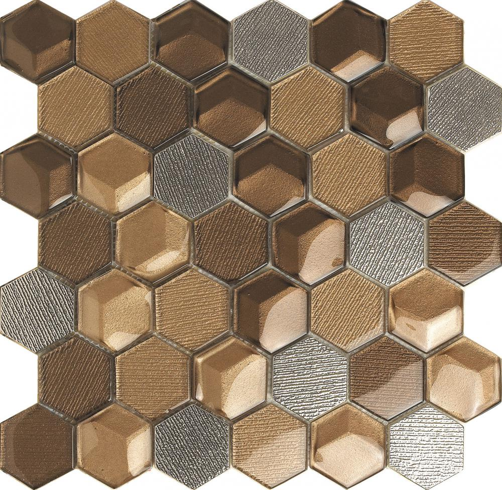 Color marrón mezclados mosaico hexagonal