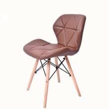 Cadeira de jantar de plástico com tampa PU Cadeira de madeira com perna de plástico
