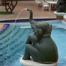 Высокое качество бронзовый фонтан слона сад для продажи