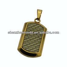 Ouro carbono fibra cão tag pingente de jóias de aço inoxidável