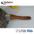 Frigideira de alumínio forjado com revestimento de pedra de granito sem indução