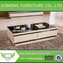 Malaysia Beige MDF coffee table set tempered glass top