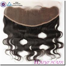 Девы человеческих волос прямой Стиль 13*4 кружева фронтальная закрытие с пачки