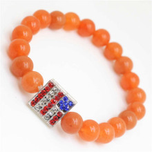 Red Aventurine Gemstone Bracelet with Diamante USA Flag Piece