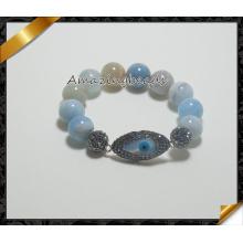 El ojo malvado rebordea la joyería al por mayor de las pulseras de piedra de los encantos de la pulsera del conectador (CB026)
