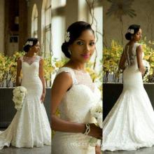 2017 Sexy ver a través de los vestidos de boda sirena Gown African
