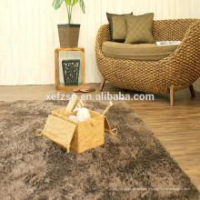 tapis moderne de zone de cheveux longs blanc pour le salon