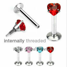 316L Stahl Intern Threaded Red CZ Labret Sexy Körperschmuck