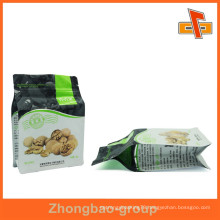 Customized plastic flat bottom nut bag for packing with zipper