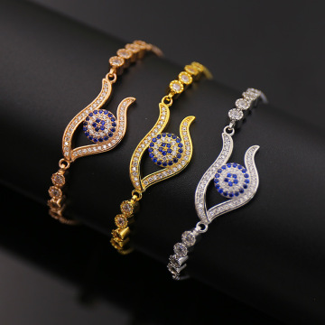 New Fashion Design for Women'S Cz Copper Bracelet Luxury Eyes Debutante Style Brass Chain Bracelet export to Japan Factories