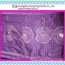 Stock Sequin on Satin Embroidery Textile Fabric